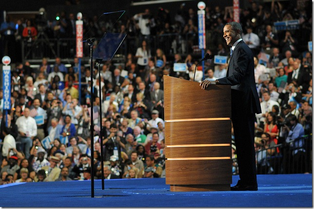 President Barack Obama delivers his acceptance speech at the Democratic National Convention September  6, 2012. Photo courtesy of the DNC.