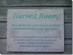 Sign outside the door of the Harvest Room at our CSA