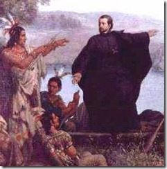 Painting of Father Jacques Marquette preaching to Native Americans. Via Wikipedia.