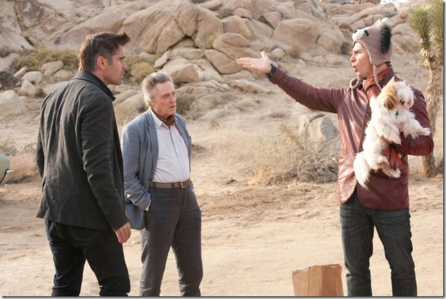 Colin Farrell, Christopher Walken, and Sam Rockwell, as three of the at least seven psychopaths in Martin McDonagh's absurdist thriller Seven Psychopaths