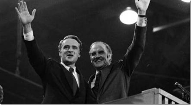 Thomas Eagleton and George McGovern at the 1972 Democratic National Convention in Miami