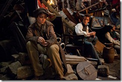 Les Mis Eponine and Marius on the barricade