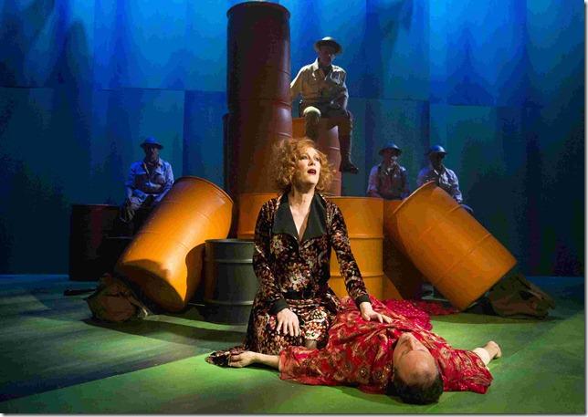 Photo:  A MAN'S A MAN By BERTOLT BRECHT New Music by DUNCAN SHEIK Directed by BRIAN KULICK JASON BABINSKY, JUSTIN VIVIAN BOND, BILL BUELL, GIBSON FRAZIER, MARTIN MORAN, STEVEN SKYBELL, STEPHEN SPINELLA, CHING VALDES-ARAN, ALLAN K. WASHINGTON; dress rehearsal photographed: Thursday, January 9, 2014;  7:30 PM at Classic Stage Company, NYC; Photograph: © 2014 Richard Termine. PHOTO CREDIT - Richard Termine