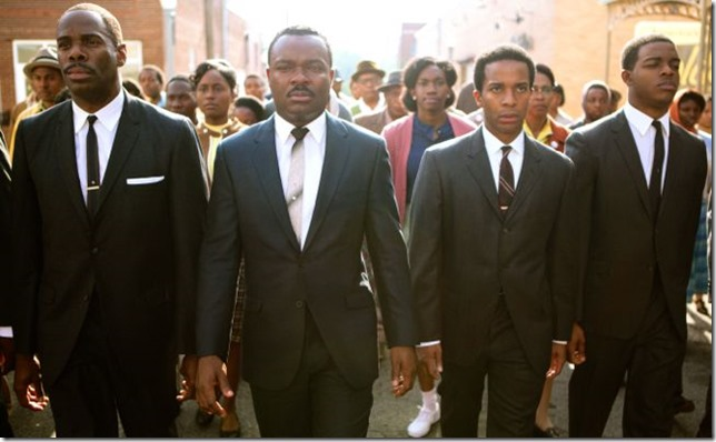 Left to right, foreground: Colman Domingo plays Ralph Abernathy, David Oyelowo plays Dr. Martin Luther King, Jr., André Holland plays Andrew Young, and Stephan James plays John Lewis in SELMA, from Paramount Pictures, Pathé, and Harpo Films.