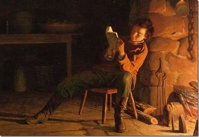 Lincoln Young Abe reading Eastman Johnson LOC