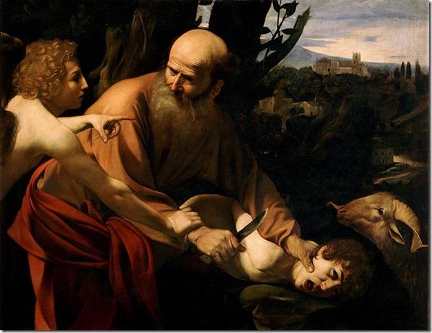 Painting Sacrifice of Isaac Caravaggio (Uffizi) via Wikipedia