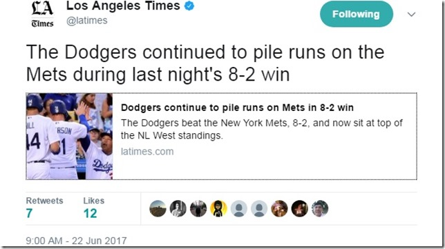 Mets Dodgers 2017 06 21 Piling up the runs