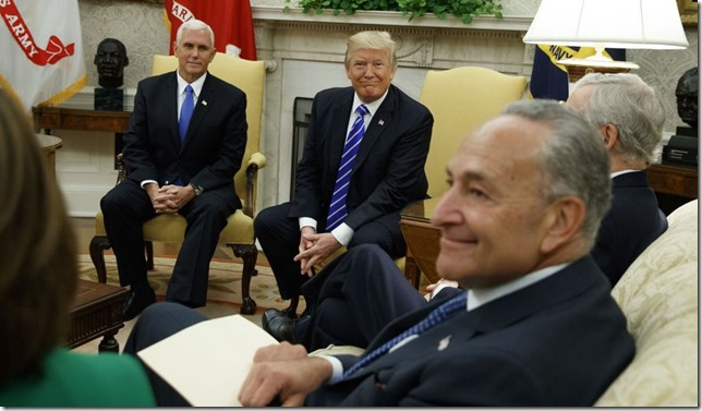 Trump Schumer all smiles Evan Vucci AP via Washington Times