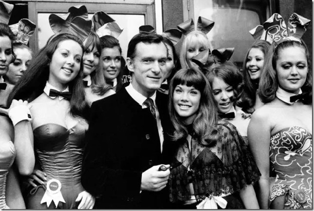 Hefner Hef Barbi Benton Bunnies London 1969 AP Wapo