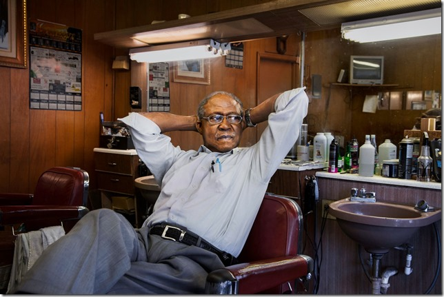 """_DSC9480, Deep South, Alabama, USA, 2013, USA-10795. Reverend Eugene Lyles in his Greensboro, Alabama, barbershop. """"Ones born today don't know how it was.""""  Final Deep South selection for Smithsonian_web  retouched_Ekaterina Savtsova 12/21/2014  Deep South_Book_HMH  MCS2013006G10795, NYC145577"""