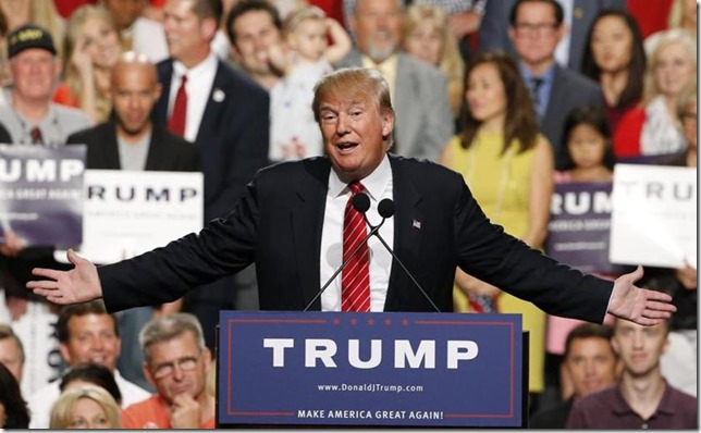 Trump Donald Clowning at a Rally in Phoenix 2015 Ross D Franklin AP via Boston Globe