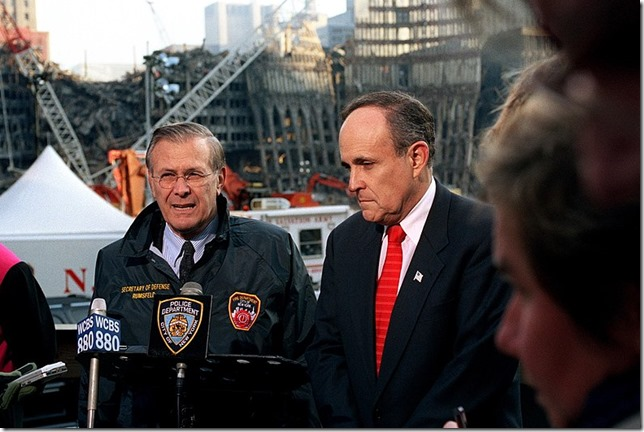Giuliani Donald Rumsfeld Rudy Giuliani at WTC November 14 2001 Robert D Ward Wikipedia
