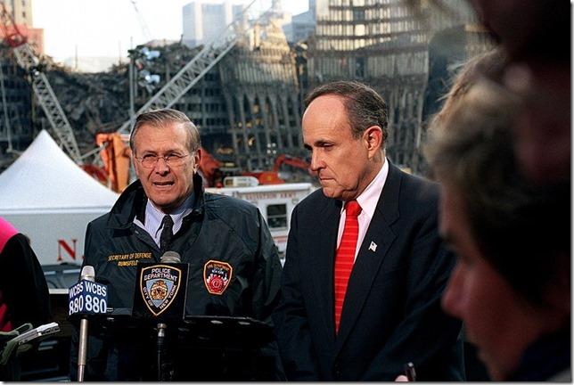 Giuliani Donald Rumsfeld Rudy Giuliani at WTC November 14 2001 Robert D Ward Wikipedia