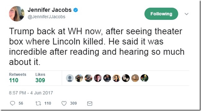 Trump Jacobs Tweet at Fords Theatre