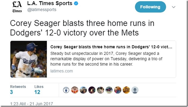 Mets Dodgers 2017 06 20 Seager 3 HRs