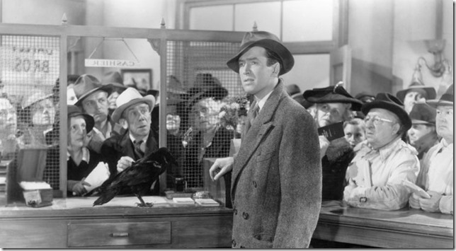 Wonderful Life George confronts Pottersville at the Building and Loan
