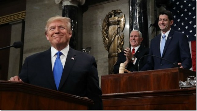 Trump SOTU 2018 Trump and his admirers Pence and Ryan Win Mcnamee Getty Images via The Week UK