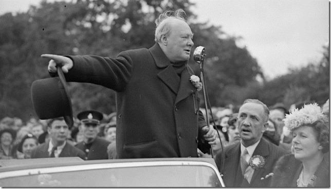 Churchill WSC on the stump 1945 Express Getty via NPR