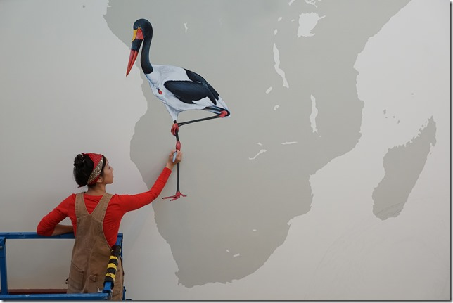 Ink Dwell Wall of Birds Jane Kim at work