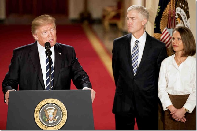 Trump Mr and Mrs Gorsuch