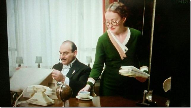 Poirot Miss Lemon serves tea