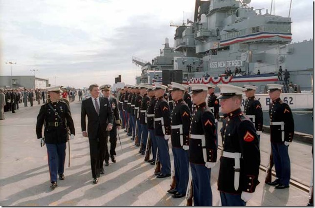 Reagan President Reagan reviews the troops Reagain Library via