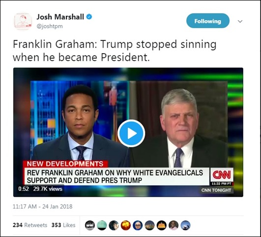 Snip 2018 01 24 Trump stopped sinning Franklin Graham on CNN