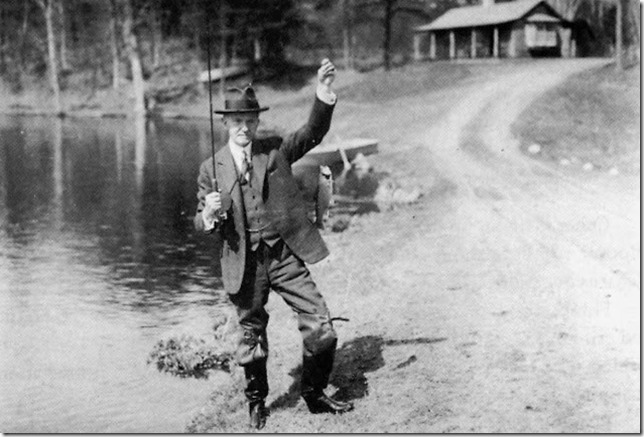 Coolidge Silent Cal with his catch of the day American Museum of Fly Fishing 2