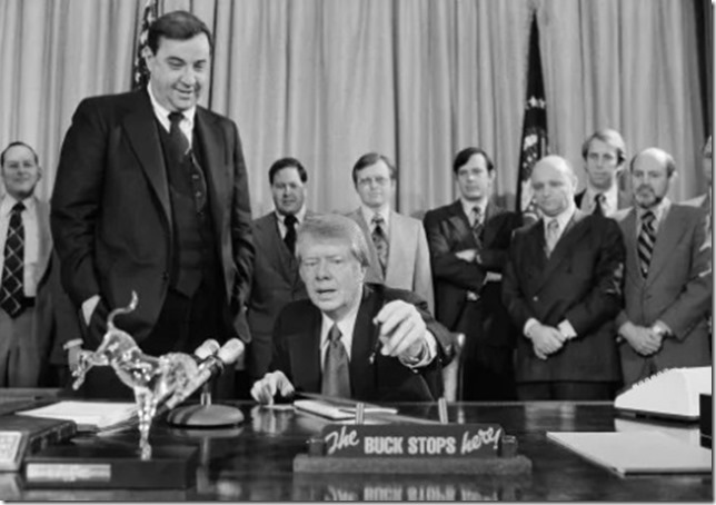 Carter Bert Lance looks on as President Carter signs budget bill 1977 Harvey Georges AP via Washington Post