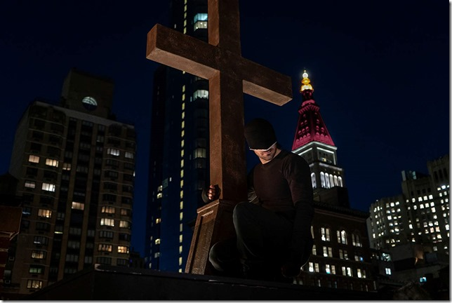 Daredevil Season 3 Matt at the foot of the cross Charlie Cox as Matt Murdock aka Daredevil