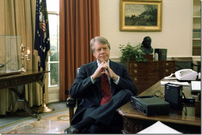 Carter Jimmy Carter in the Oval Office December 13 1977 White House Staff Photo via Loyola U
