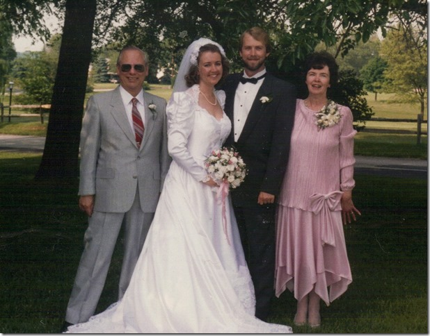 1988 05 28 Our Wedding Day Dad Adrianne Some guy in a rented tux and Mom