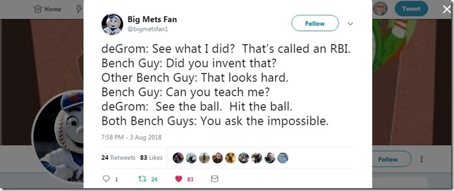 Snip 2018 08 03 BigMetsFan deGrom and the Bench Guys
