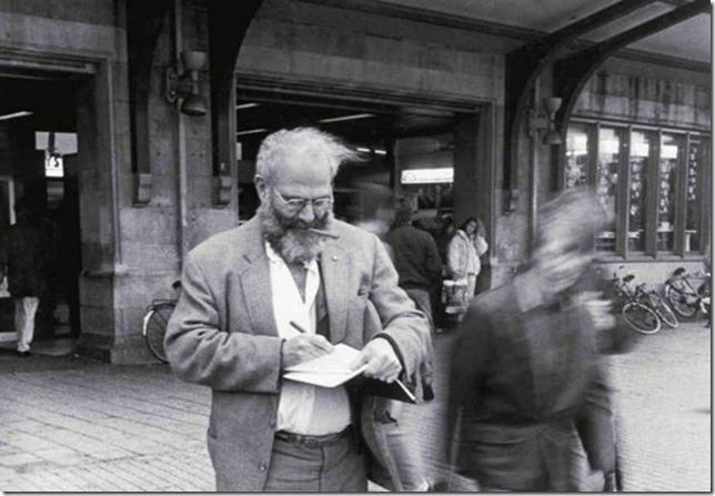 Oliver Sacks writing in his journal outside Amsterdam Train Station Lowell Handler via Brain Pickings