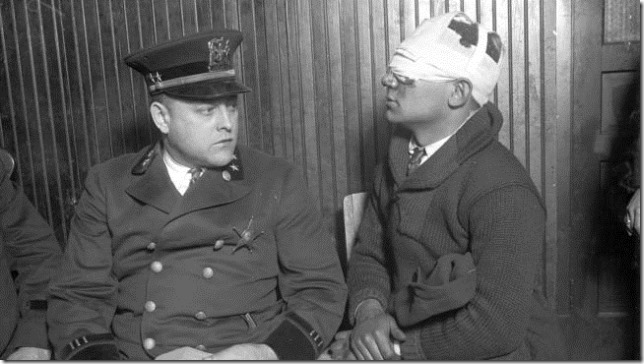 Chicago 1924 election Cicero Chief of Police Albert W. Valecka and injured campaign worker via Chicago Tribune