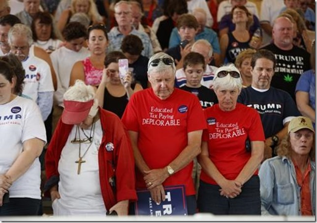 GOP The only good people Supporters of Republican presidential candidate Donald Trump pray during a campaign rally in Ocala FL 2016 Associated Press Photo by Evan Vucci via WNG