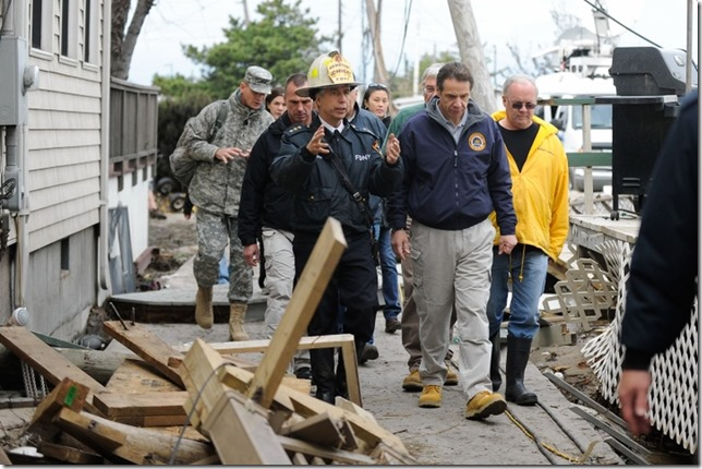 Andrew Hurricane Sandy Cuomo Cuomo and FDNY Asst Chief Joseph Pfeifer in Breezy Point Julia Xanthos NYDN 2012