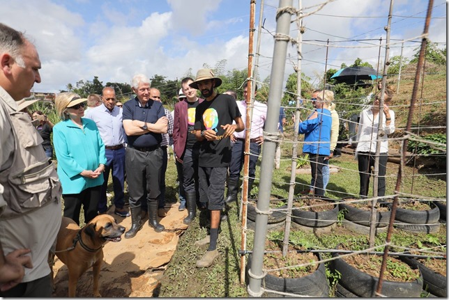HRC Hillary with Bill on a farm in Puerto Rico January 2019 via Clinton Foundation