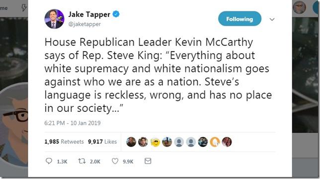 Snip 2019 01 11 Kevin McCarthy Steve King via Jake Tapper Twitter
