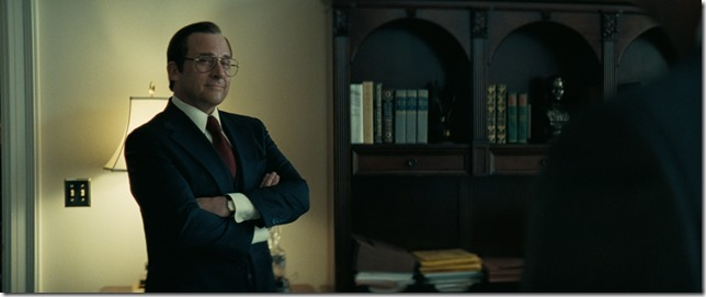 Vice Steve Carell having a high old time playing Don Rumsfeld as a jerk who enjoys being a jerk