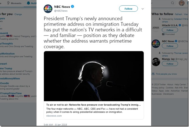 Snip 2019 01 08 Trumps speech NBCNews Twitter
