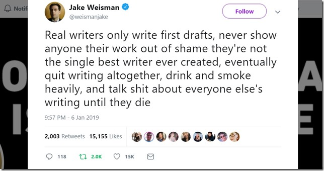 Snip Jake Weisman Twitter 2019 01 06 Real writers