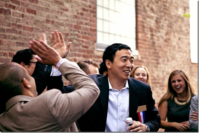 Yang Andrew Yang on the campaign trail photo by Nanette Konig via Andrew Yang Campaign Website