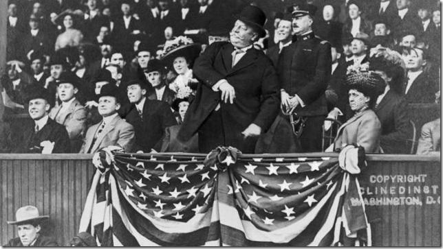 Presidents Taft WH Taft throwing out the first pitch April 20 1910 Senators vs Athletics via History