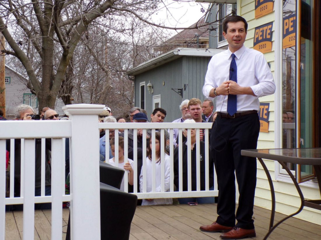 Buttigieg Mayor Pete on the porch campaigning in Marshalltown April 17 2019 Photo by Sara Jordan Heintz Times Republican
