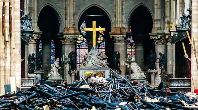 Notre Dame Altar and Cross April 16 2019 Christophe Petit Tesson Pool via AP via wfyi