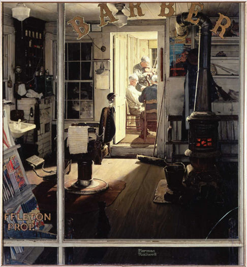 Rockwell Shuffletons Barbarshop courtesy of Norman Rockwell Museum