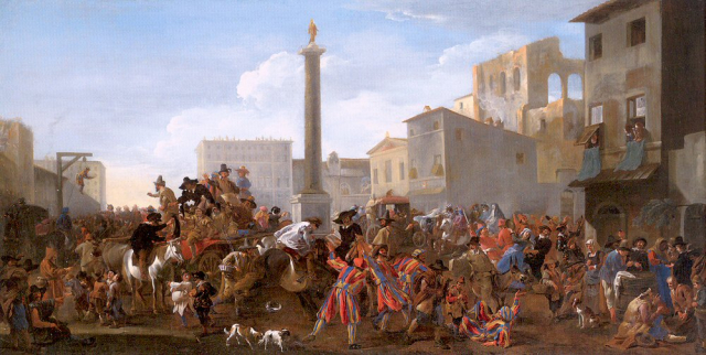 Painting Miel Carnival in the Piazza Colonna Rome 1645 Wadsworth via Wikipedia