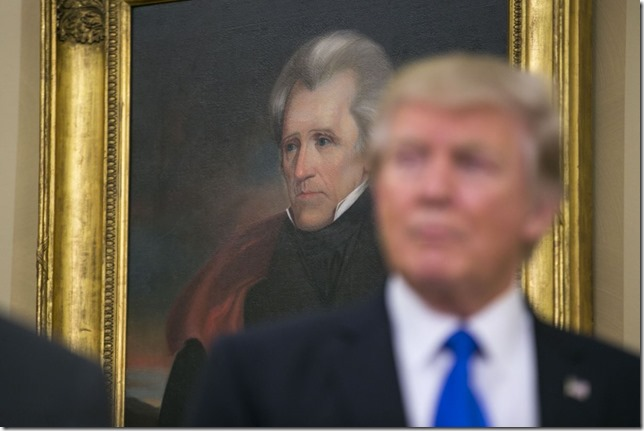 Trump The Angel on his shoulder Trump with Oval Office portrait of Andrew Jackson February 2017 Al Drago New York Times via Anchorage Daily News