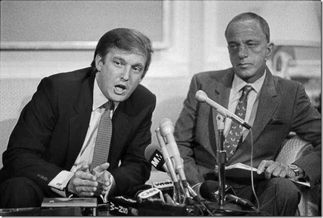 Trump Young Donald and Roy Cohn at news conference announcing the USFL lawsuit v NFL 10 18 84 Marilynn K Yee NYT via Time